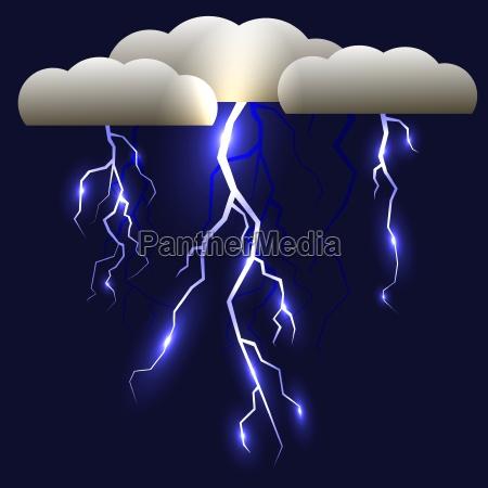 white lightning isolated on blue background
