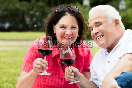 senior couple holding glass of wine