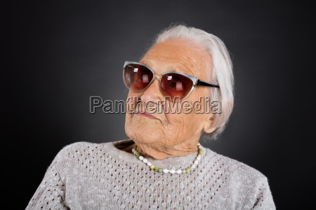 senior woman with sunglasses