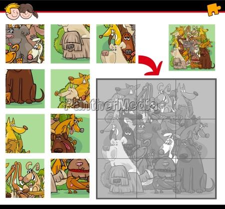 puzzle aufgabe mit hunden