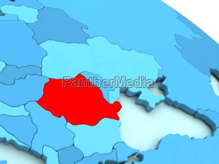 rumaenien in rot auf blau globus