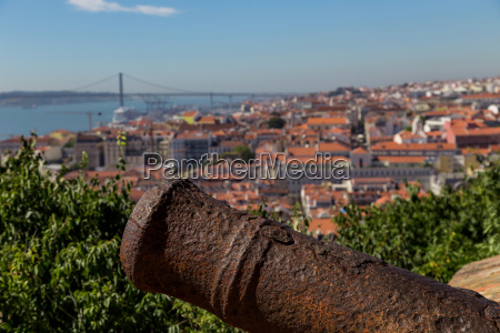 view on lisbon with old metal