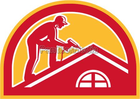 roofer arbeitet am dach halbkreis retro