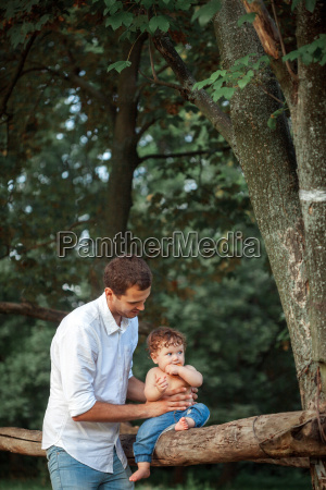 young beautiful father and little toddler