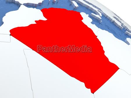 algerien auf globus