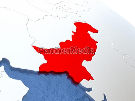 pakistan on globe