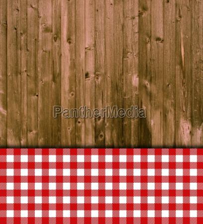 holzbretter mit tischdecke rot wei lizenzfreies bild 19141217 bildagentur panthermedia. Black Bedroom Furniture Sets. Home Design Ideas