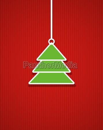 gestreifte rote weihnachtskarte mit weihnachtsbaum