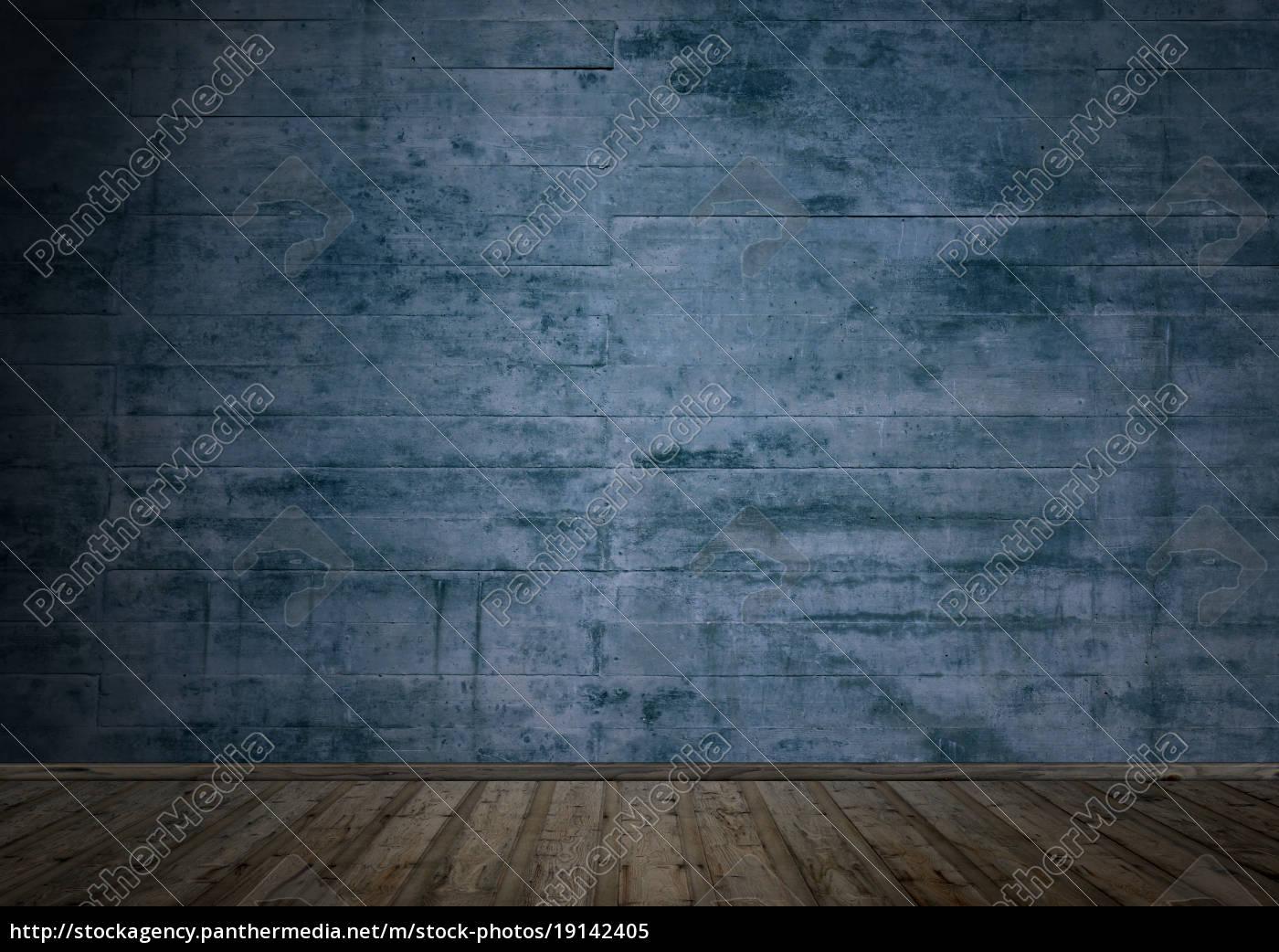 Dunkler Raum Mit Holzboden Und Betonwand Lizenzfreies Bild