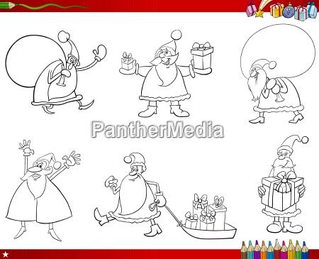 santa claus set coloring page
