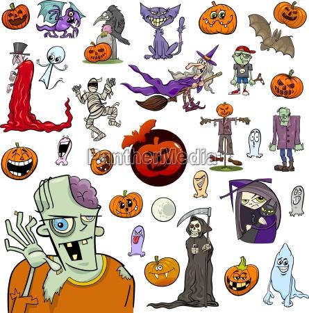 halloween cartoon set