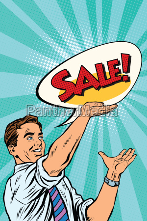 pop art retro man announcing sales