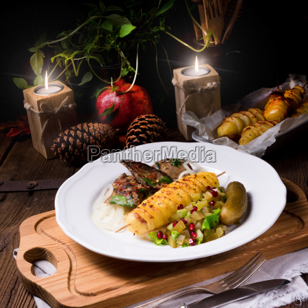 fried liver with fried potato and