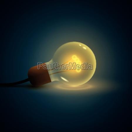 vector illustration of old lightbulb idea