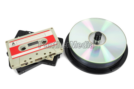 audio cassettes and cds on white