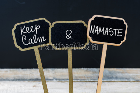 keep calm and namaste message written