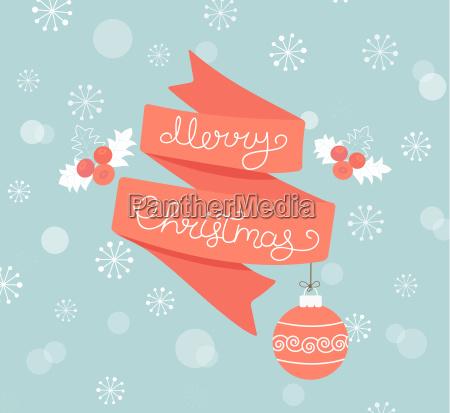 greeting card for christmas with ball
