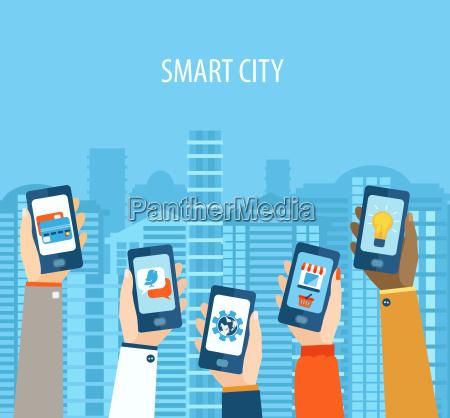 concept of hands holding smart phones