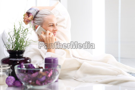 salon spa woman relaxing in the