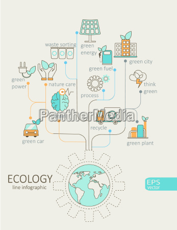 flat linear infographic eco concept