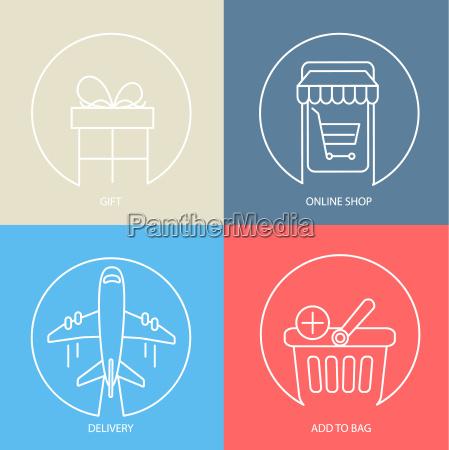 outline e commerce web icon set