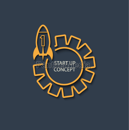 vector startup concept gray background