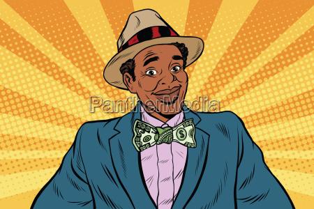 retro african american businessman with dollar