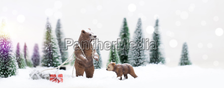 christmas polar and grizzly bears in