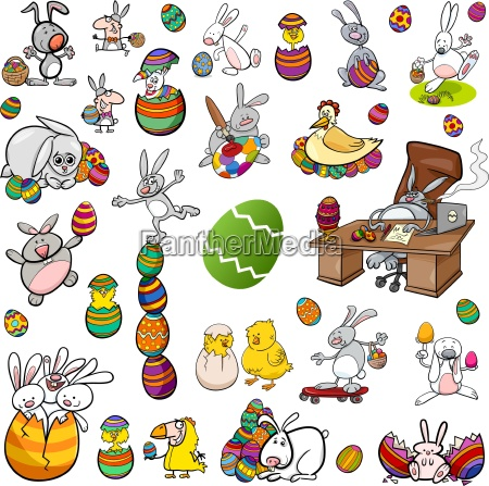 ostern zeichen cartoon set