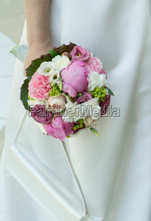 bride in white dress with a