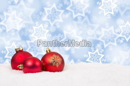 red christmas balls christmas snow winter