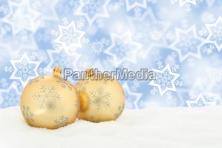 christmas gold christmas balls snow winter