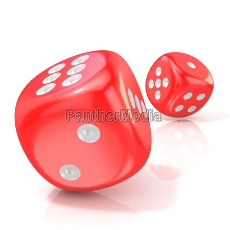 zwei rote spieldizes 3d