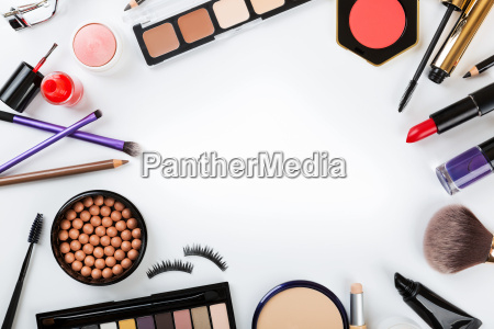 top view of cosmetics on white