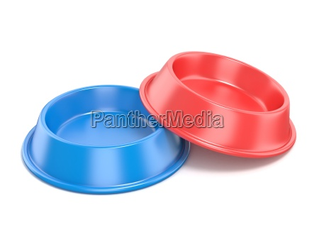 blaue und rote tierschale zum essen