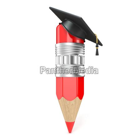 roter bleistift mit graduiertenkappe bildungskonzept 3d