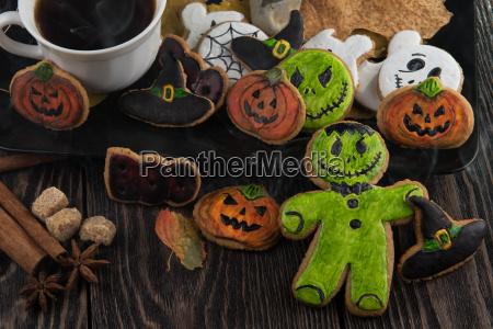 hausgemachte, leckere, ingwer, kekse, für, halloween - 19191771