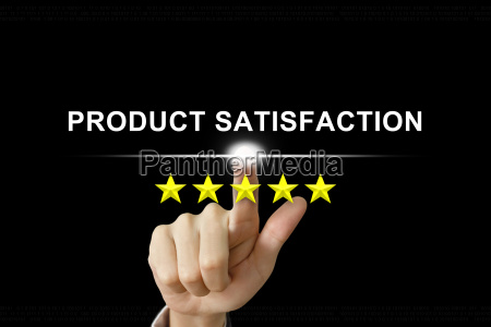 business hand pushing product satisfaction on