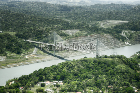 aerial view of centennial bridge on