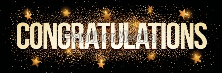 congratulations banner with gold glitter vector