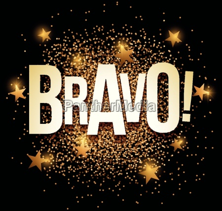 bravo banner with gold glitter vector
