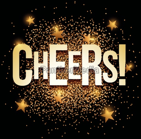 cheers banner with gold glitter vector