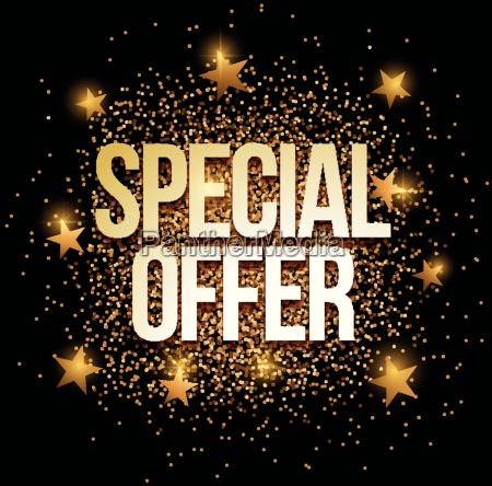 special offer banner mit gold glitter