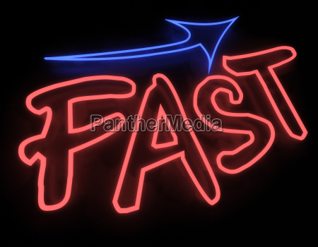 fast neon sign isolated on black