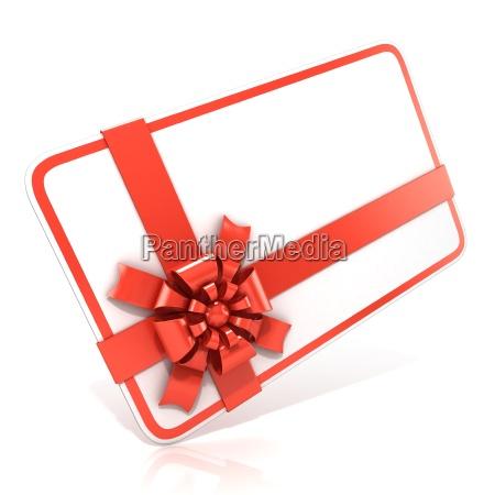 weisser leerer geschenkkarte mit rotem band