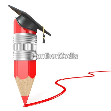 roter bleistift mit einer graduierungskappe die