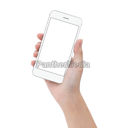 close up hand hold phone isolated