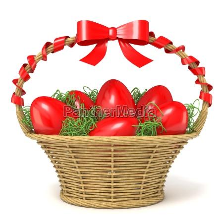 osterkorb voller roter eier mit rotem