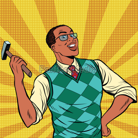 retro man with a hammer for