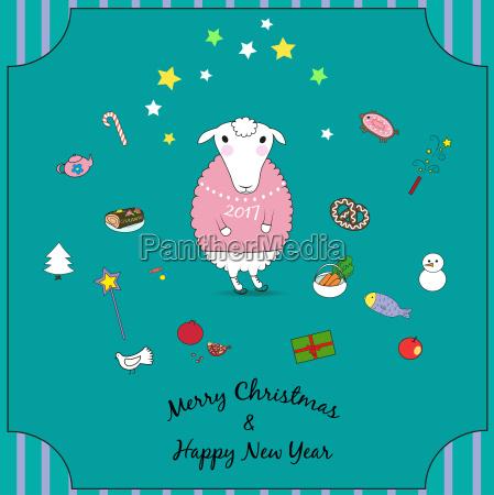 tier schaf neujahr weihnachtszeit christmas erfreut